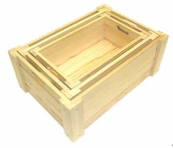 holzkisten set drei rechteckige ineinander. Black Bedroom Furniture Sets. Home Design Ideas