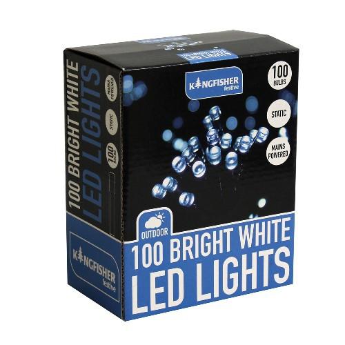 100 bright white static led christmas lights