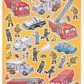 """Warenzusammenstellung in Aufmachung für den Einzelverkauf, sog. Playing & Coloring Book """"Fire Fighters"""", bestehend aus: - einem vier Blätter umfassenden Heft mit vier Seiten zum..."""