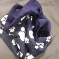 QUILTED PET BLANKET. COVER IS 100 PER CENT COTTON, BASE IS 100 PER CENT ACRYLIC, AND THE FILLING IS 100 PER CENT POYESTER WADDING. SIZE IS 100 CM X 70 CM. BLANKET IS  NAVY ONE SIDE, AND NAVY...