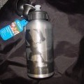 A SPORTS BOTTLE MADE OF ALUMINIUM WITH A PLASTIC LID. HEIGHT IS APPROX 14CMS X 7CMS IN DIAMETER