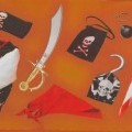 Achtteilige Zusammenstellung, bestehend aus einer Jacke, einer kurzen Hose, einem Gürtel (Bekleidungszubehör), einem Halstuch, einem Beutel (konfektionierte Spinnstoffware), einer  Augenklappe...