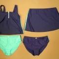 Vierteilige Zusammenstellung bestehend aus einer Kombination für Frauen (pulloverähnliches Kleidungsstück und Rock) und zwei Badehosen für Frauen, sog. Tankini, Größe 44, siehe beigefügte...