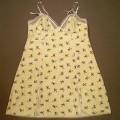 Nachthemd für Frauen, Art. Nr.: 625778, Größe 42/44, siehe beigefügtes Foto, - aus 0,5 mm dicken, buntbedruckten, elastischen Gewirken (grün-weiß-gestreifter Grund   mit Alloverdruck mit...