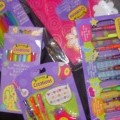 A STATIONERY SET CONSISTING OF A HARD BACKED NOTE BOOK, BOX OF 10 GEL PENS, 4 GEL PENS AND STAMPER ON A BLISTER CARD, PACK OF 8 FIBRE TIPPED PENS, SIX ASSORTED COLOURED PENS ON A BLISTER CARD....