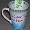 Geschirr zum Tischgebrauch, keramische Tasse, siehe Foto, - glasierte, überwiegend hellblaue, becherartige Tasse mit Henkel, - mit einer Höhe von ca. 11 cm und einem Durchmesser von ca. 8 cm, -...