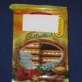 Wyroby piekarnicze - prostokątne ciasteczka biszkoptowe (o wym. ca 3 cm x 5 cm), połączone ze sobą kremem śmietankowym i nadzieniem o smaku morelowym, pokryte z jednej strony polewą czekoladopodobną....