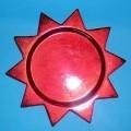 Ziergegenstand zur Innenausstattung, sog. Zierteller, siehe Photo,  - unglasierter, roter, runder Zierteller in Sternenform, - mit einem Durchmesser von ca. 15 cm,  - keramisches Erzeugnis, nach...