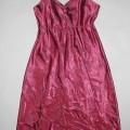 Kleid, sog. Nachthemd, Artikel: 31 927/7, Größe 36/38, siehe beigefügtes Foto, - aus 0,4 mm dicken, musterbildend gewebten (Jacquard), glänzenden Satingeweben (rostrot    mit floralem, grauen...