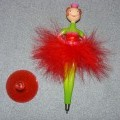 BALLERINA BALLPOINT PEN. ROLLER BALL WITH LIQUID INK. REFILLABLE. OF PLASTIC. IN THE SHAPE OF A BALLERINA. WITH FEATHER SKIRT. FITS INTO A PLASTIC SUCKER TO MAKE IT STAND UP. PACKAGED FOR RETAIL...