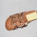 WOMENS SANDAL. WITH VAMP MADE UP OF TWO 3CM STRAPS WITH BUCKLE FASTENINGS. UPPER OF TEXTILE MATERIALS WITH SEQUIN AND BEAD DETAIL. WITH IN-SOLE OF LESS THAN 24CM. WITH OUTER SOLE OF RUBBER/PLASTIC.