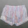 Kurze Hose, sog. Damen Shorty Schlafanzug Art. 280383 S, Größe 36/38, siehe Foto, - aus 0,6 mm dicken, bedruckten (gestreift) Gewirken aus lt. Antrag 100% Baumwolle, - in der Taille abschließend,...
