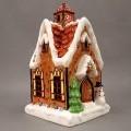 """Keramischer Ziergegenstand zur Innenausstattung, sog. """"Windlicht Weihnachts-Kirche"""",  siehe Foto,  - buntglasiertes, innen hohles, an mehreren Stellen durchbrochenes (u.a. Turm und..."""
