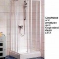 """""""Duschabtrennung""""; es handelt sich im Wesentlichen um Rahmen (Eckeinstieg) aus Profilen aus weiß beschichtetem Aluminium (lt. Antragsteller) mit Füllung aus 4 mm starkem Sicherheitsglas...."""