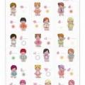 Es handelt sich um ca. 4-5 cm große, starre Kunststofffiguren in Gestalt von 18 verschiedenen Kinderfiguren, die mit einem Kleid bzw. Oberteil und Höschen bekleidet und mit einer Aufhängeschlaufe...