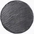 Angaben: Warenbezeichnung: Naturschieferplatten mit Gummifüßen (4 Stück), Art.-Nr. 49615 - Durchmesser: 32 cm - Farbe: schwarz - Material: Tonschiefer - Bearbeitung: Oberfläche spaltrauh...