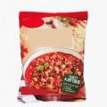 tomat; livsmedelsberedning; pastaprodukt; vitlök; lök; saltad; kryddad; i detaljhandelsförpackning; färgämne; stärkelse; basilika; rapsolja; inte kokt