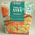 Asiatisches Reisgericht   Antragsangaben: Taste of Asia Reis & Huhn mit süß-saurer-Sauce  Beschaffenheit des vorgelegten Warenmusters (in Originalverpackung): Bedruckter Faltkarton; der...