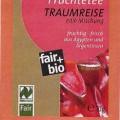 Früchteteemischung, lose  Beschaffenheit des vorgelegten Warenmusters: Braune Faltschachtel (ca. 14 cm x 7 cm x 4,5 cm) mit Sichtfenster; auf dem grün-roten Etikett die Waren- bezeichnung (Früchtetee)...