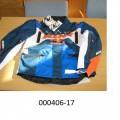 Kleidungsstück zum Bedecken des Oberkörpers (Motorradjacke), - etwa bis zu den Hüften reichend, - vorne durchgehend mittels Zippverschluss zu öffnen, mit einer Pattenleiste, welche Klettverschlüsse...