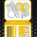 scissors; safety pins; pins; sewing needles