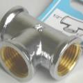 Rohrverbindungsstück; T-Stück aus Messing  Bei der Ware handelt es sich um ein T-förmiges Hohlerzeugnis aus verchromtem Messing (Kupfer-Zink-Legierung mit gewichtsmäßig überwiegendem Kupfergehalt)....