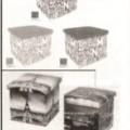 in legno; sedili; contenitori; di forma quadrata; fibre tessili