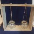 in rechthoekige vorm; van glas; hout; sierartikelen; potten