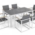 stuhl; aus metall; glas; tisch; rechteckig