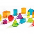 of plastic; cubes; transparent; colours; cones